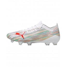 Puma Ultra 1.2 Firm Ground & Artificial Grass Cleats - White & Orange   Evangelista Sports