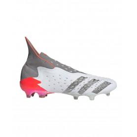 adidas Predator Freak+ Firm Ground Cleats - White, Grey & Red   Evangelista Sports